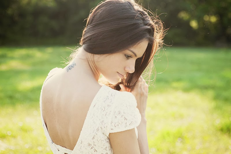 Model, Beauty, Nature, White dress, Young, Long hair