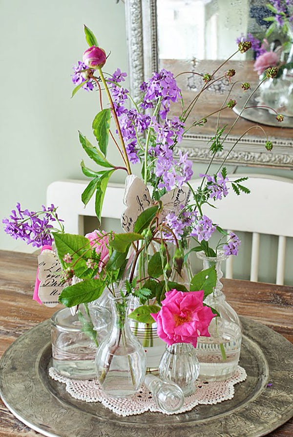 Pink and Lilac Shabby Chic Vases and Flowers