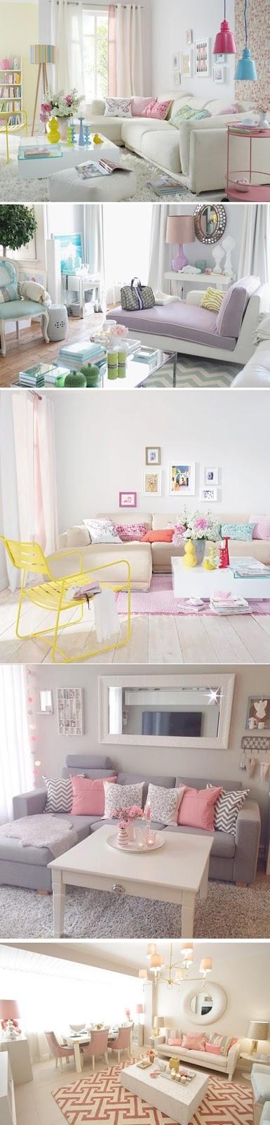 decoração de sala com cores pasteis
