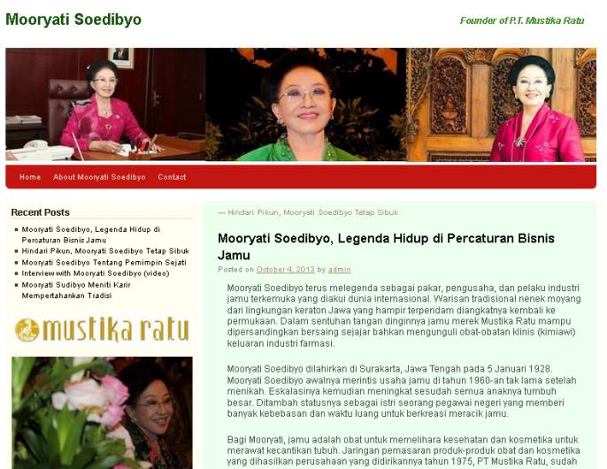 Biografi Mooryati Soedibyo Pendiri PT. Mustika Ratu