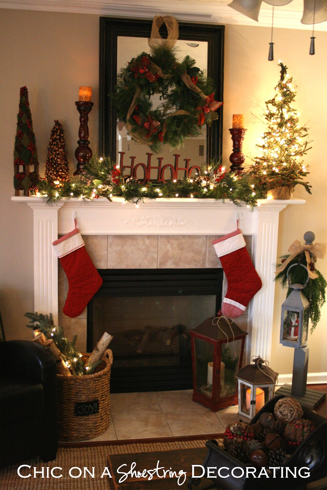 Chic on a shoestring decorating rustic christmas mantel for Christmas mantel design ideas