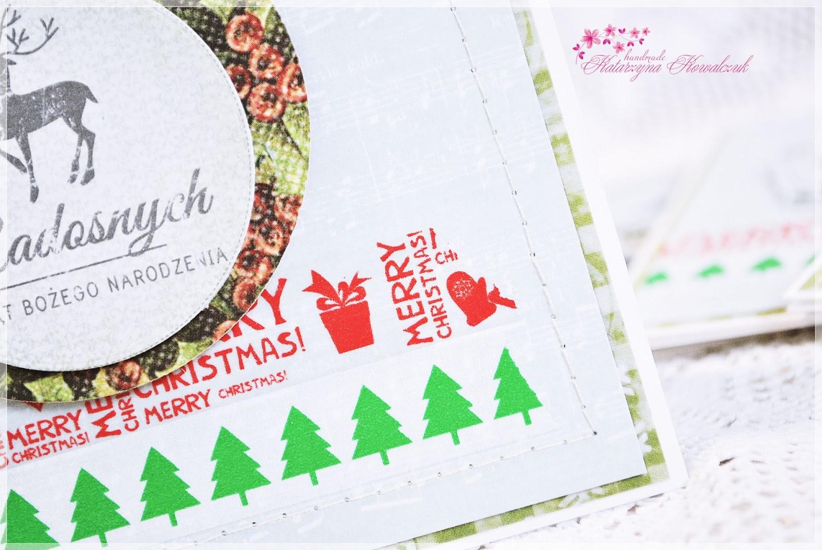 Kartka Bożonarodzeniowa, świąteczna, scrapbooking