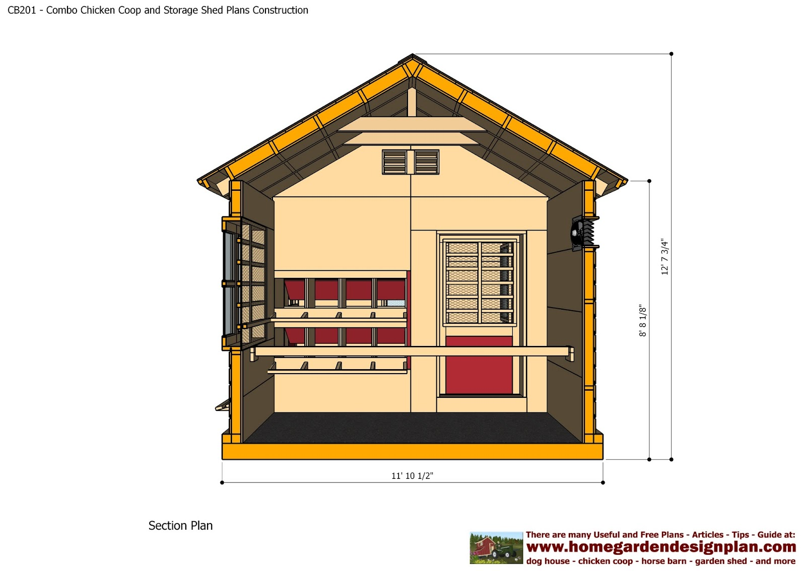 Shed plans colonial style cb201 combo plans chicken coop for Garden building plans