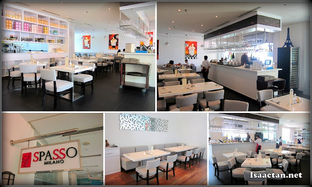 The clean white interior of Spasso Milano Penang