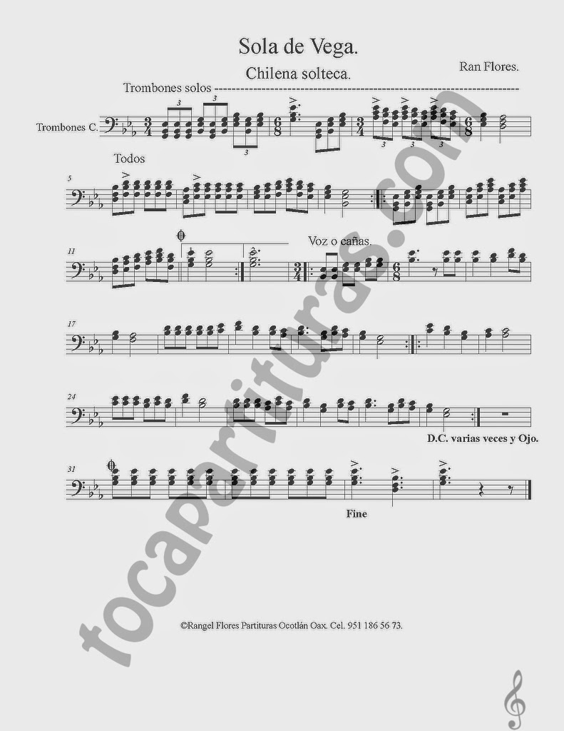 Partitura de Sola de Vega en clave de fa, partitura para trombón, puede servir para instrumentos como chelo, fagot, bombardino, tuba o cualquiera en clave de fa Chilena Solteca
