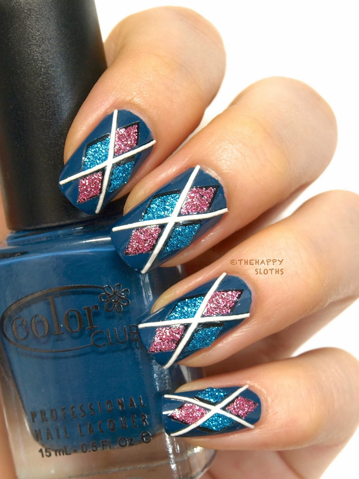 Argyle Nails: Manicure Featuring 3D Design Nail Stickers - Argyle Nails: Manicure Featuring 3D Design Nail Stickers The Happy
