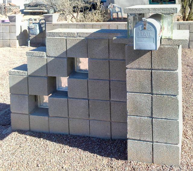 Glazed Cinder Blocks : Tucson mailbox art january