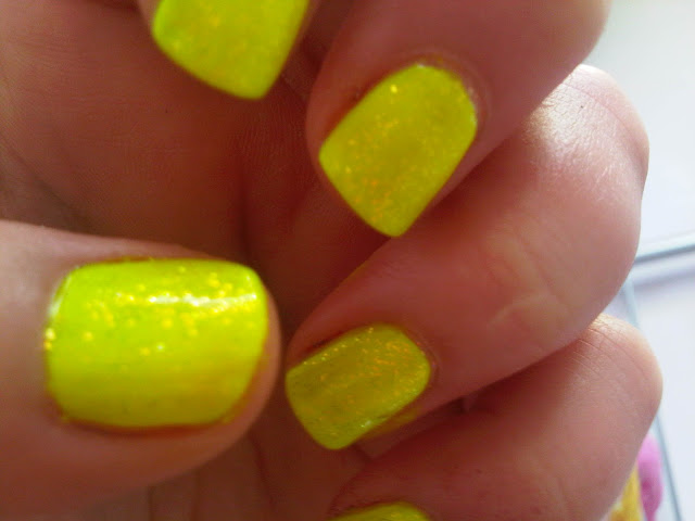 neon yellow and glitter
