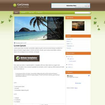 GoGreen blogger template. template blogger with image slideshow