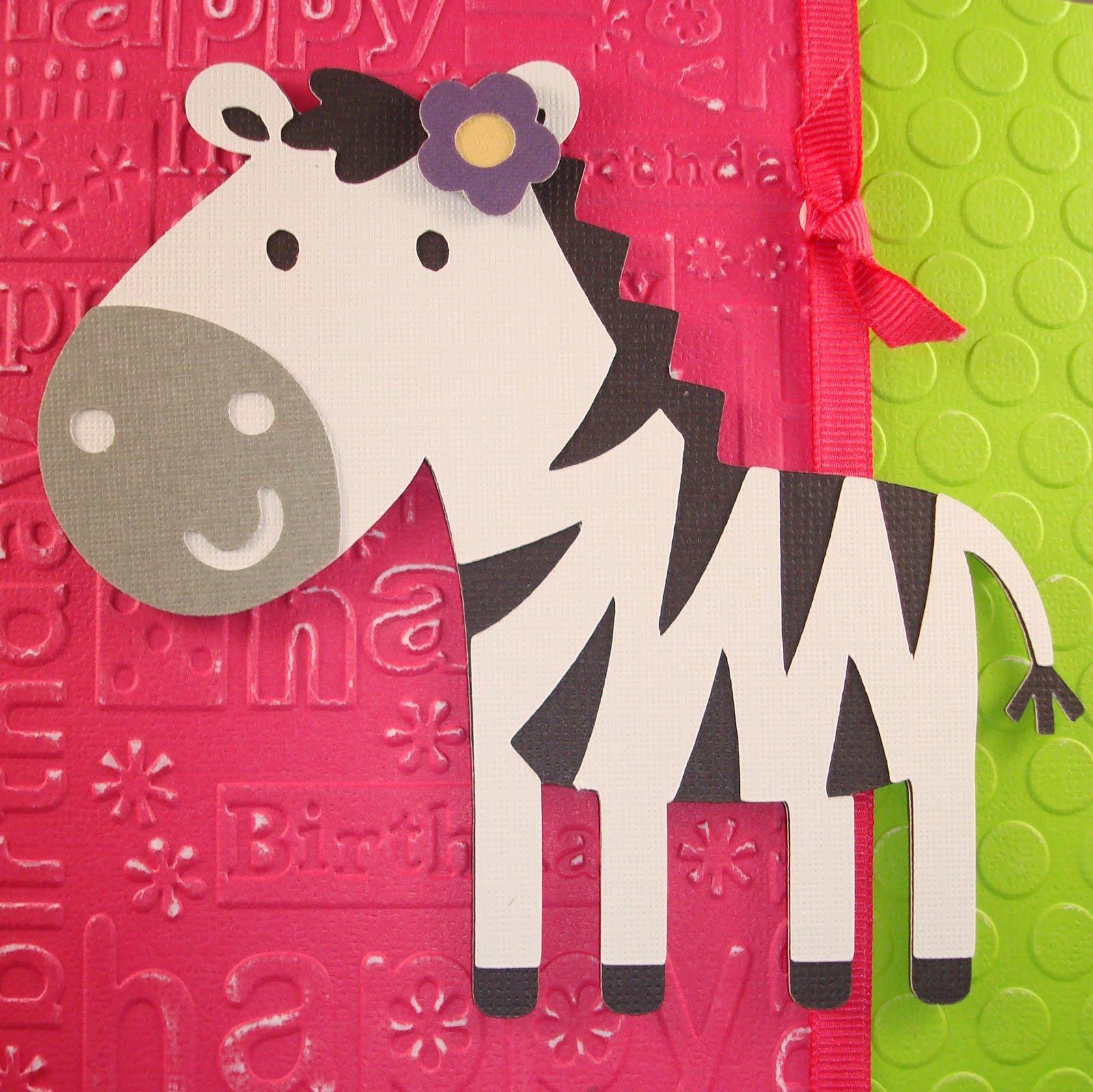 Handmade With Love Zebra Birthday Card