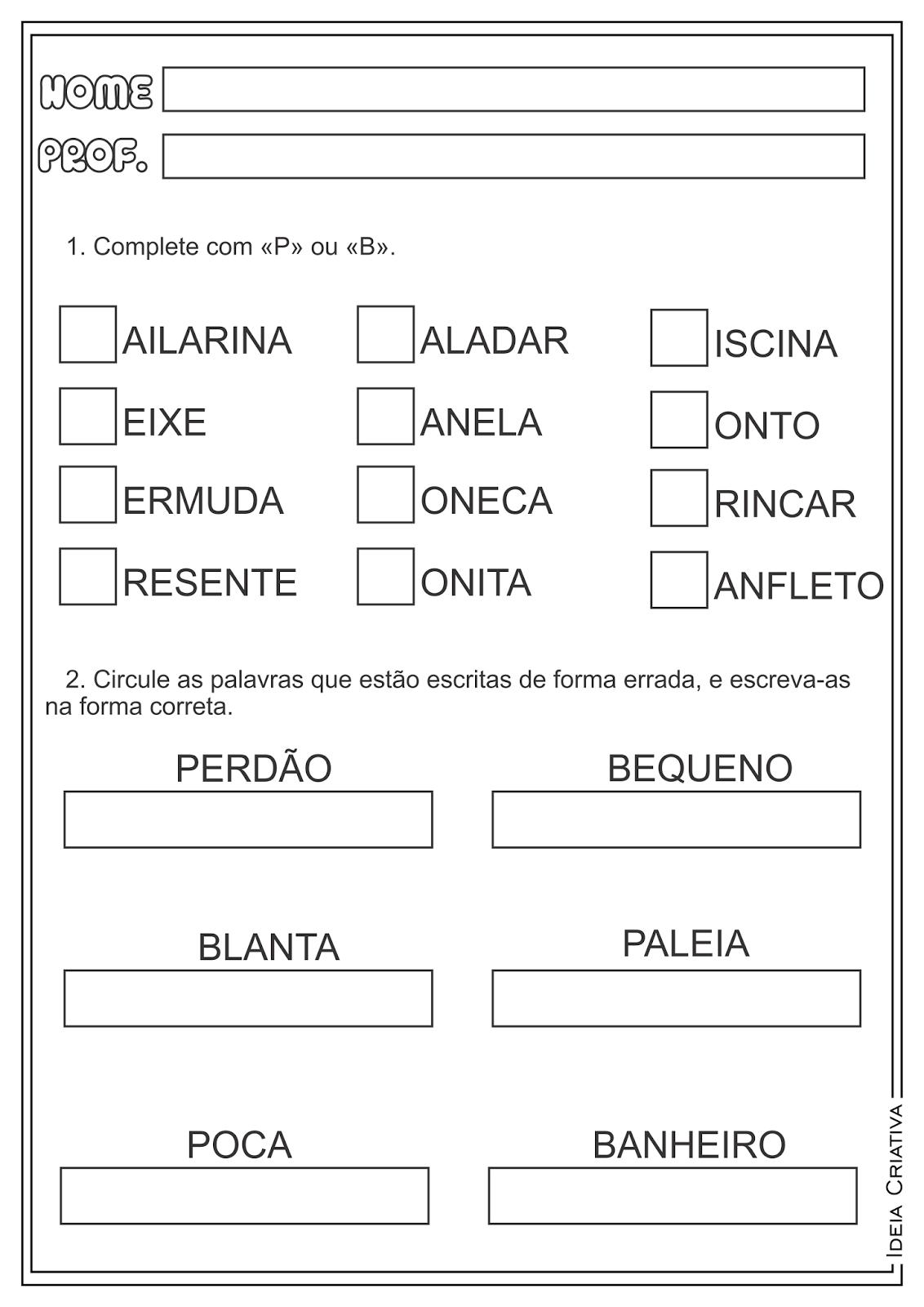 Atividades Ortografia P e B Língua Portuguesa para Ensino Fundamental