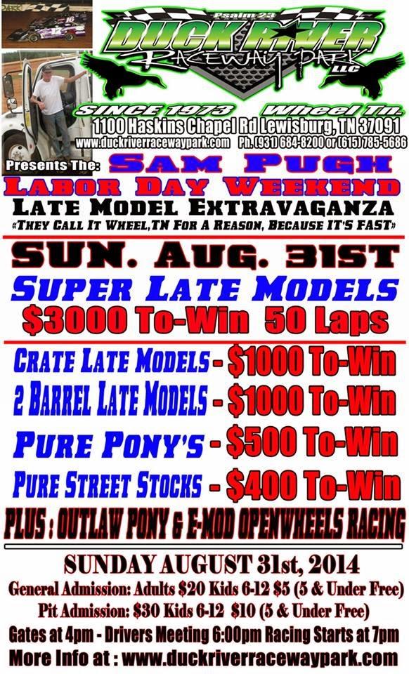 Sam Pugh Labor Day Weekend Late Model Extravaganza at Duck River Raceway Park