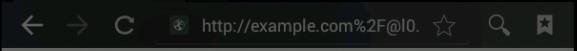 Android 4.0.3 エミュレータ ブラウザで「挙動の再現 4. の URL」へアクセス  なお、このブラウザのアドレスバーでは、 @より前の部分が表示されているが、 Windows の Chrome(バージョン 40.0.2214.111 m) でアクセスしたときには、 @より前の部分は表示されていなかった