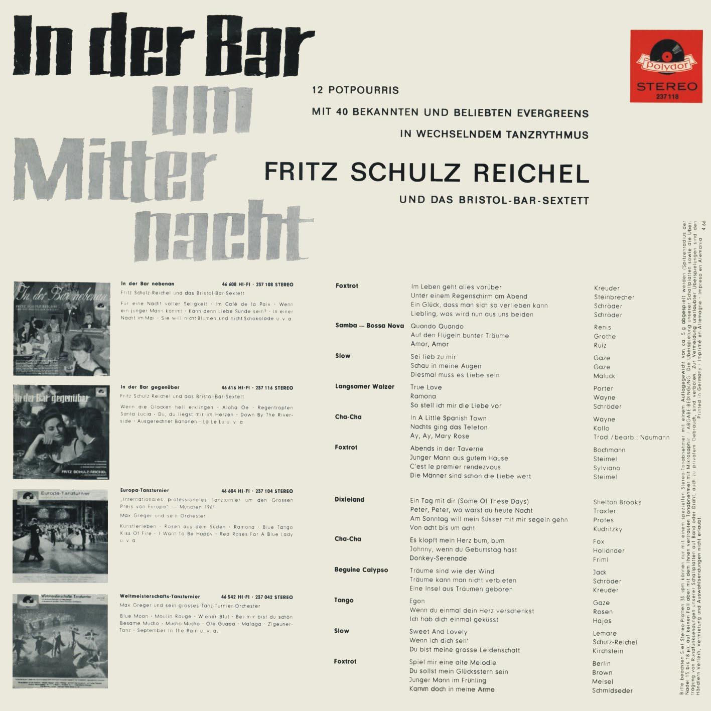 Fritz Schulz Reichel Und Das Bristol Bar Sextett In Der Bar Um Mitternacht