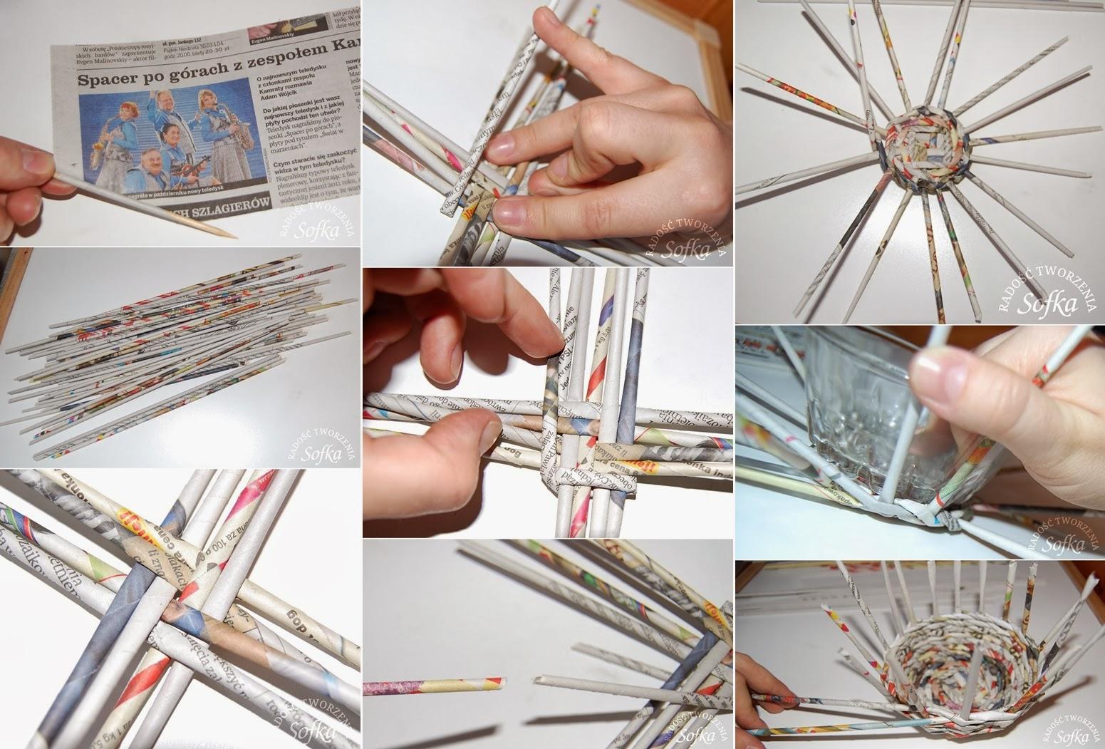 Basket Making Using Newspaper : Diy wicker basket using newspaper craft projects