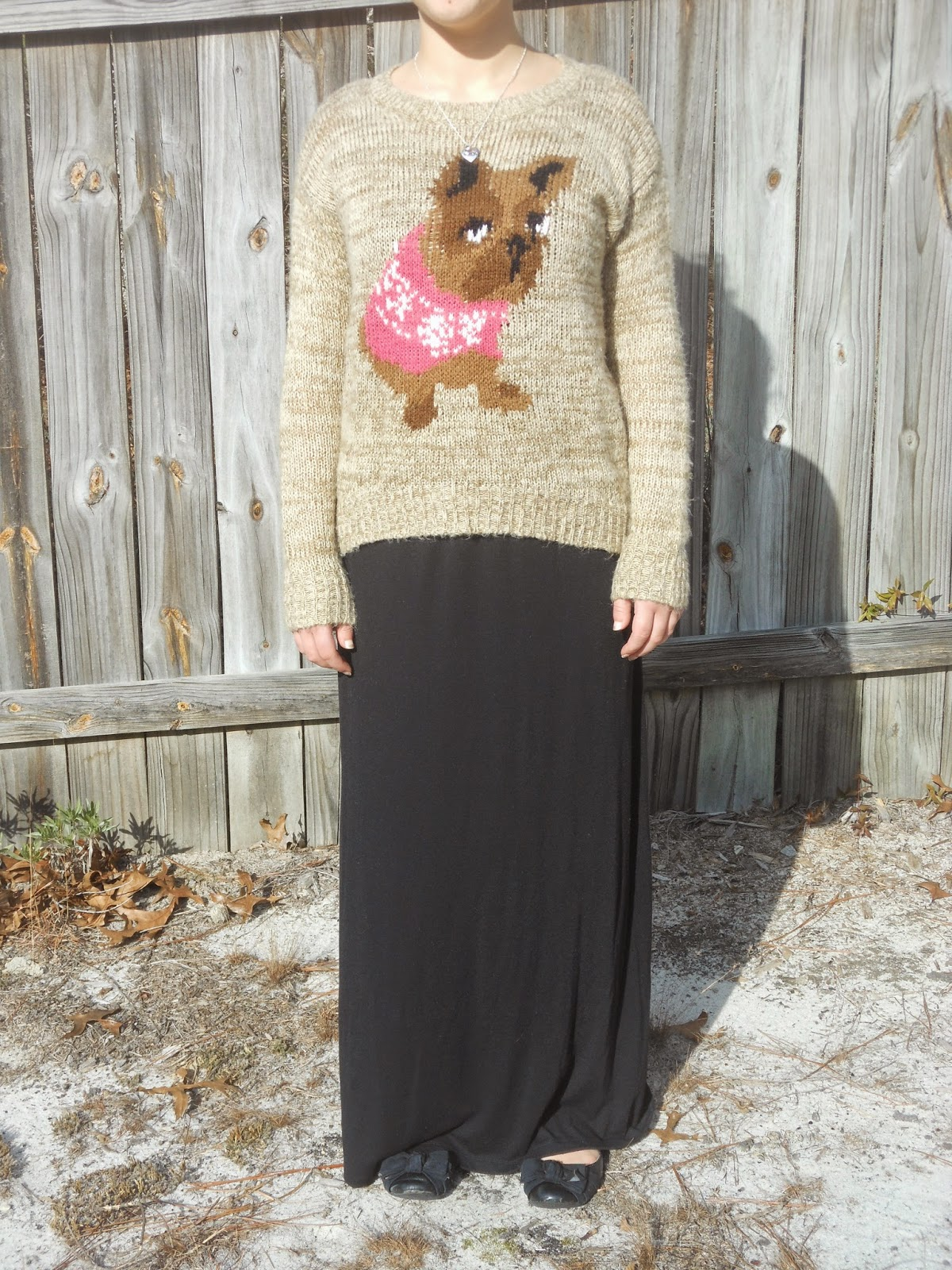 How to Wear a Dress in Winter || 03. black maxi dress, dog sweater, black flats, simple necklace. http://mybowsandclothes.blogspot.com/. #simplejewelry #maxidress #dressinwinter