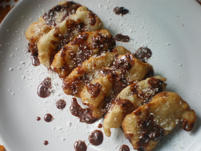 Banana Fritters Topped with Chocolate Sauce