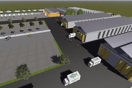 Design 3D Bangunan Gudang Kantor View Bird Modern Landscape