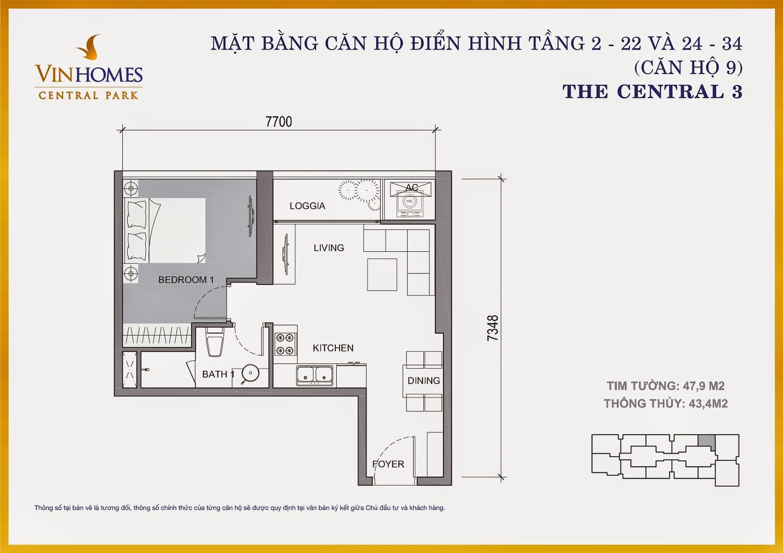 Căn hộ Central 3 1 phòng ngủ