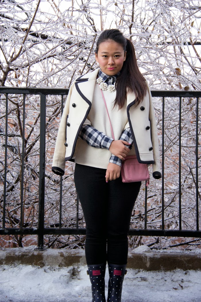 JCrew-PeaCoat, Statement-Necklace, PolkaDots-Boots