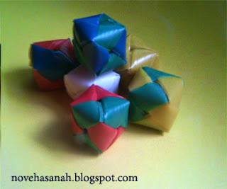 prakarya sedotan plastik bentuk kubus