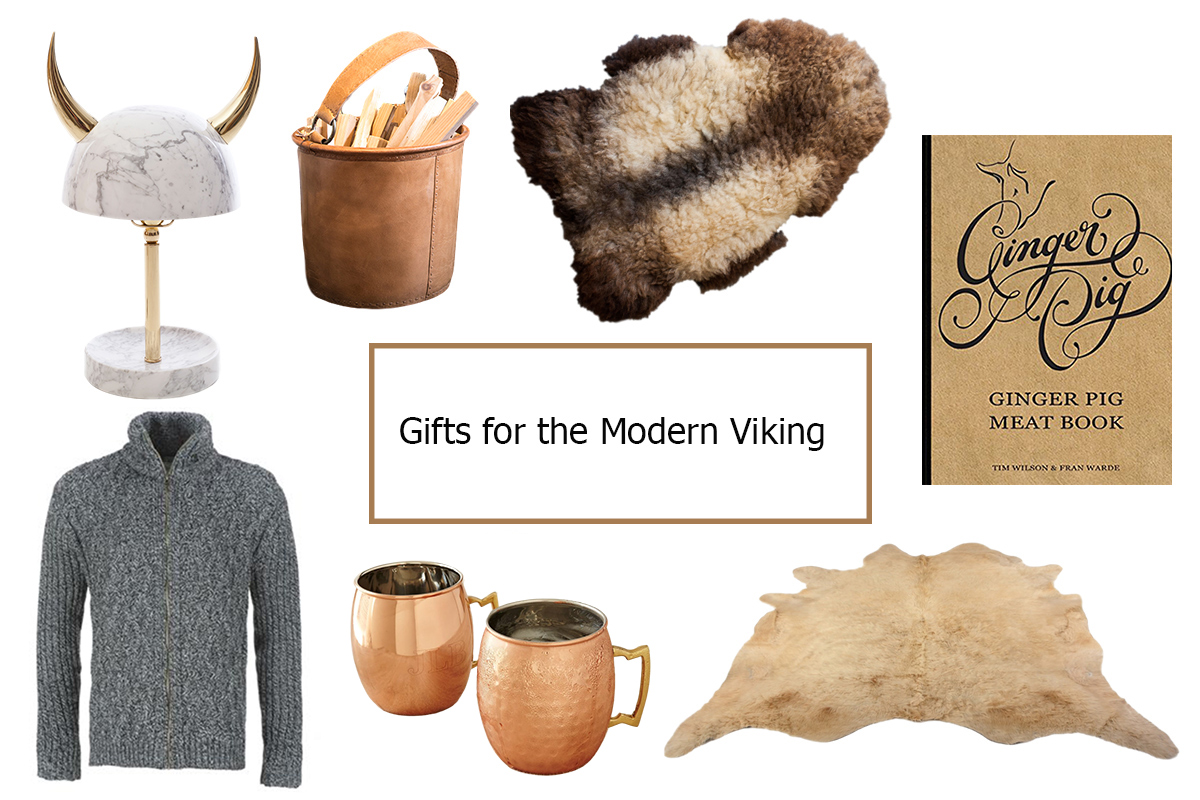 These gifts should serve him well – clockwise from top left: Viking desk lamp / Leather kindling bucket / Organic British sheepskin / Ginger Pig Meat book ...