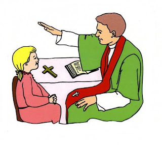 Clipart picture of girl praying and sacrament of reconciliation kids image