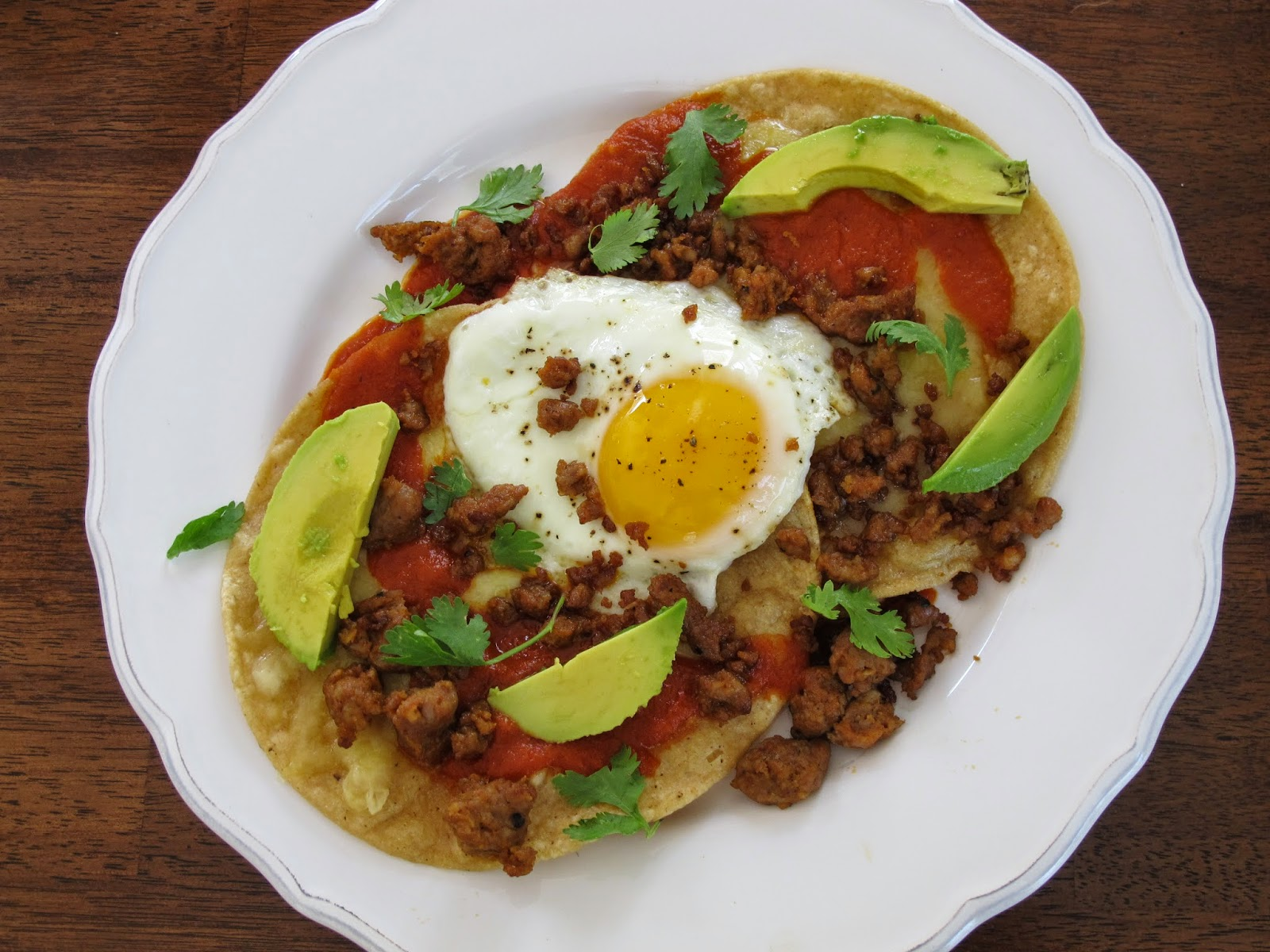Chorizo Huevos Rancheros with Fried Eggs