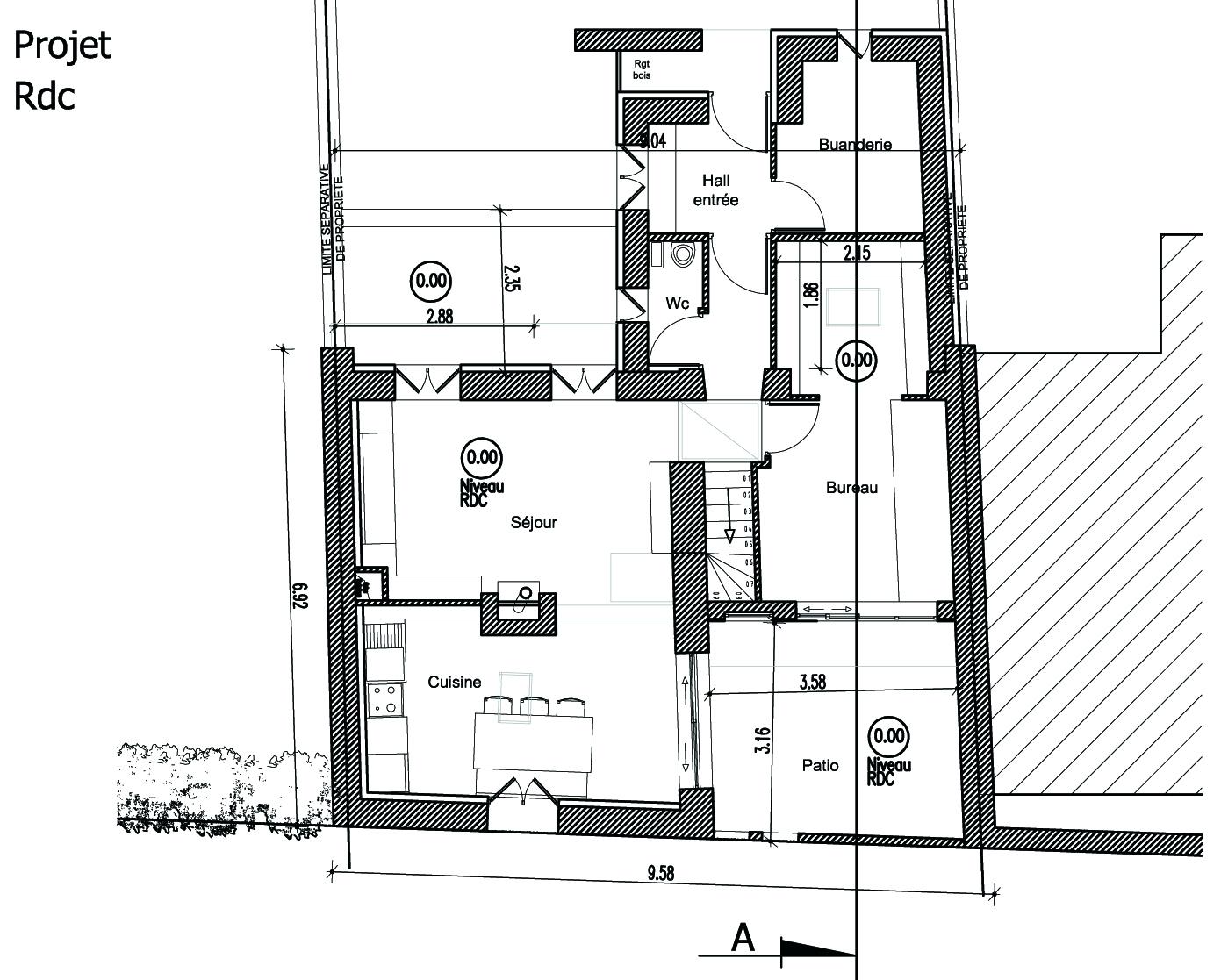 Plan maison 1 chambre rdc for Plan de maison 60m2