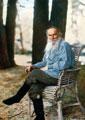 Leon Tolstoi en Yásnaia Poliana en 1908, fotografía de Sergey Prokudin-Gorsky
