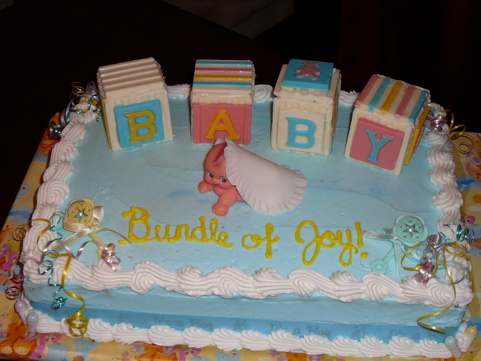 Sarah s Icing on the Cake Baby Shower Cake with Candy Blocks