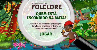 Encontre na ilustração os principais personagens do folclore brasileiro, descubra seus nomes e aprenda sobre eles