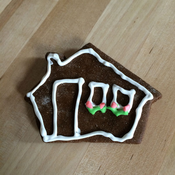 Gingerbread cookie in shape of a small house