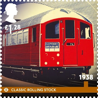 £1-28 London Underground stamp showing 1930s rolling stock.