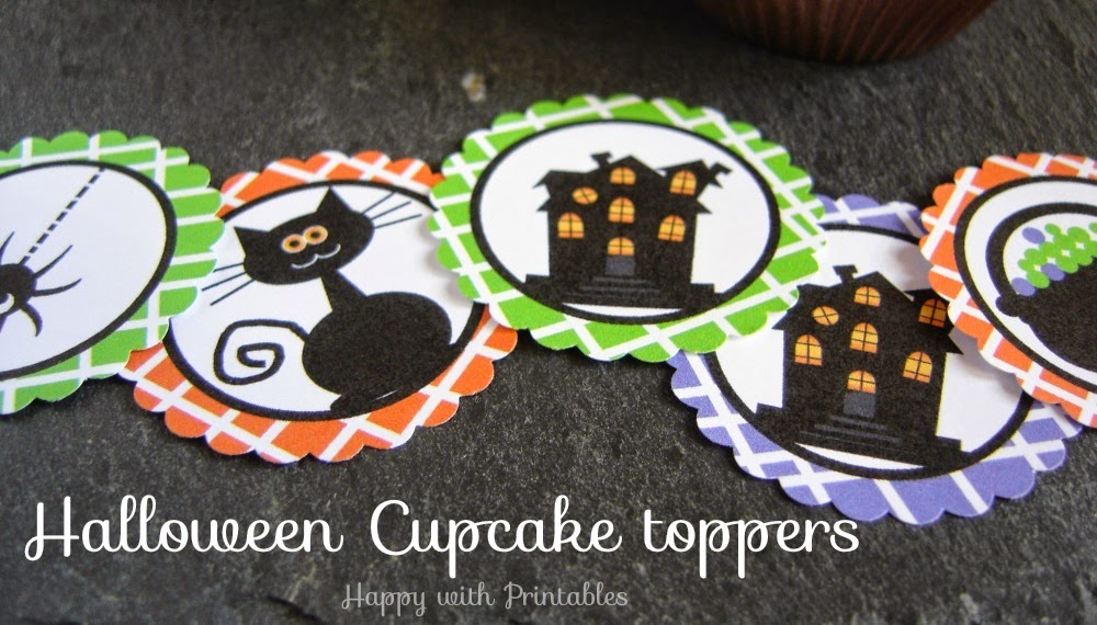 Halloween cupcake toppers, Happy with printables, happy halloween, halloween printables, halloween party