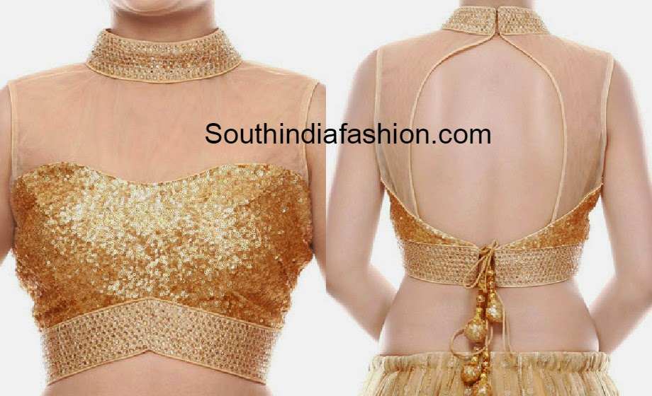 Blouse Stand Neck Designs : High neck gold sequins blouse south india fashion