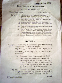 NAGPUR UNIVERSITY OLD QUESTION PAPERS B.E APPLIED CHEMISTRY SUMMER 2010
