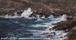 Plein Air seascape in oils, Albany. Andy Dolphin.