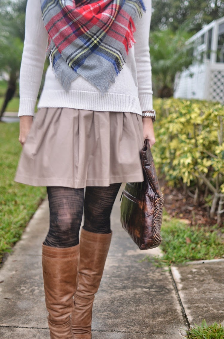 Tights - boots - leather skirt - blanket scarf