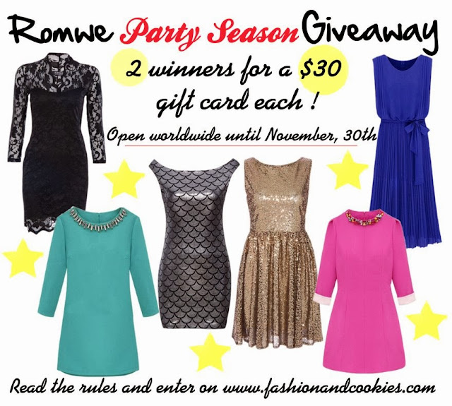 Romwe Party Season Giveaway on Fashion and Cookies - win 2 $30 gift cards