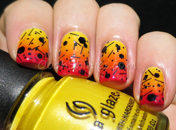 Sinful Colors Unicorn sponged with China Glaze Sunshine Pop, Papaya Punch & Ruby Deer, finished with JENsations Black Out