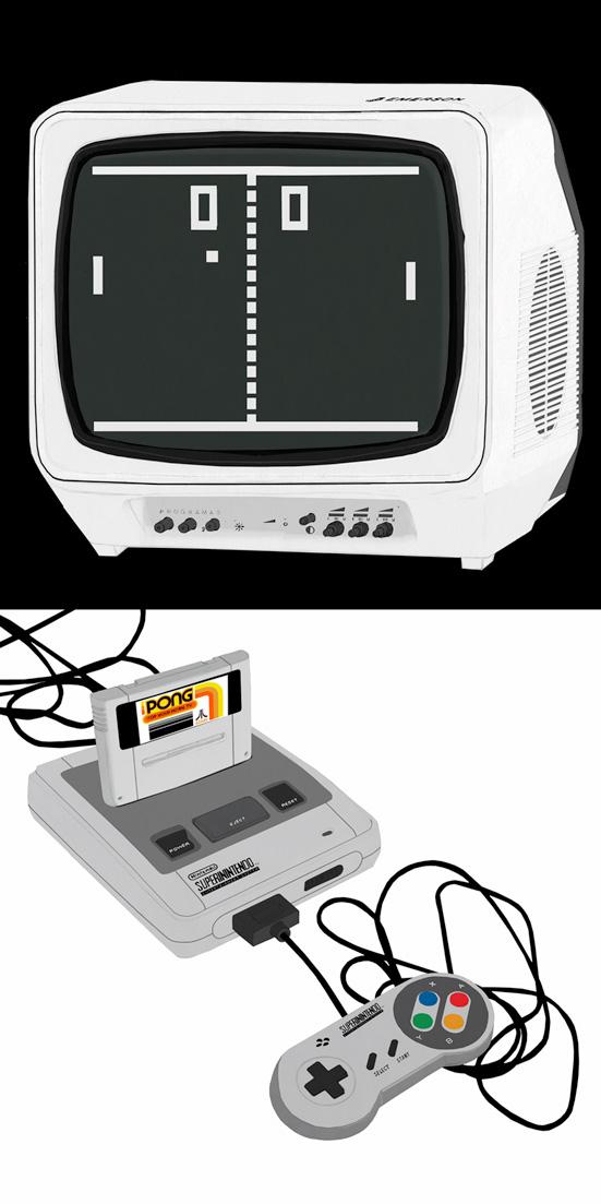 Pong, Supernintendo, tv,videojuegos, dibujo