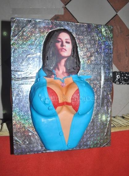 Birthday Cake Images With Name Sunny : Bollytter: A dog cuts Sunny Leone Cleavage birthday cake???
