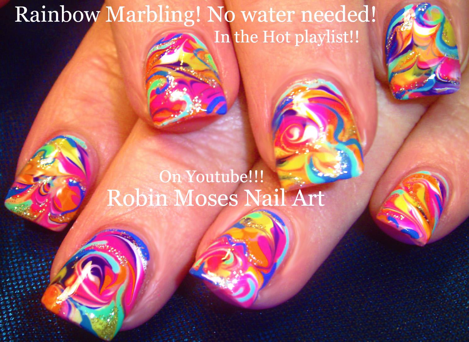 Nail Art Rainbow Tutorial : Robin moses nail art neon rainbow nails done with no