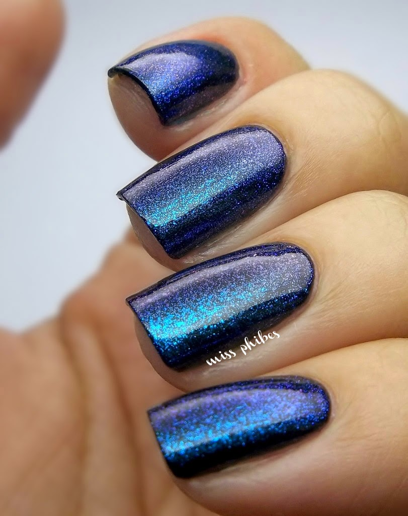 China Glaze Blue Iguana over black