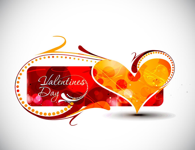 お洒落なバレンタインデーのロゴ テーマ Vector Heart valentine day word theme イラスト素材5