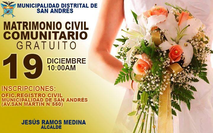 Matrimonio Simbolico San Andres : Municipalidad distrital de san andrés matrimonio civil