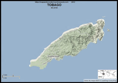 Mapa de TOBAGO, relieve, TRINIDAD Y TOBAGO
