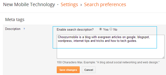 Blogger Search Preference Settings
