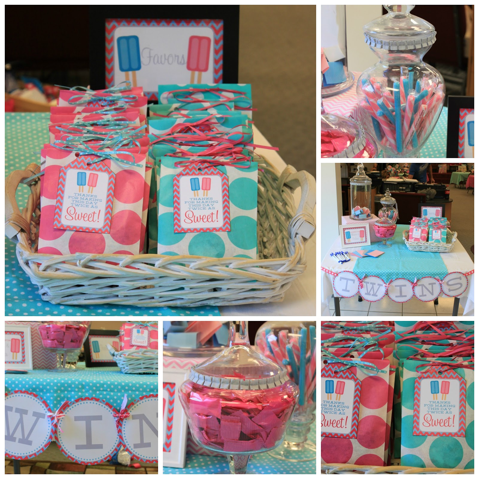 Twin pops baby shower from nbrynn dimple prints for Baby shower decoration ideas for twins